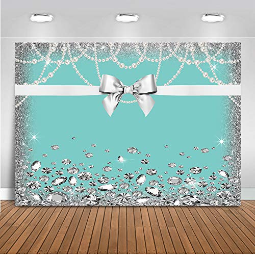 Mehofoto Breakfast Blue Bow-Knot Birthday Backdrop Sweet 16 Turquoise Bow Photography Background 7x5ft Vinyl Bridal Shower Wedding Party Banner Supplies Backdrops]()