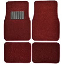 BDK MT-100-BD Burgundy Red Carpeted 4 Piece Car SUV Floor Mats With Vinyl Heel Pad Car Vehicle Universal Fit