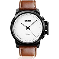 Mens Brown Leather Band Casual Business Watch Dress Unusual Analog Quartz Wristwatch, Simple Fashionable Classic Waterproof Watches- White