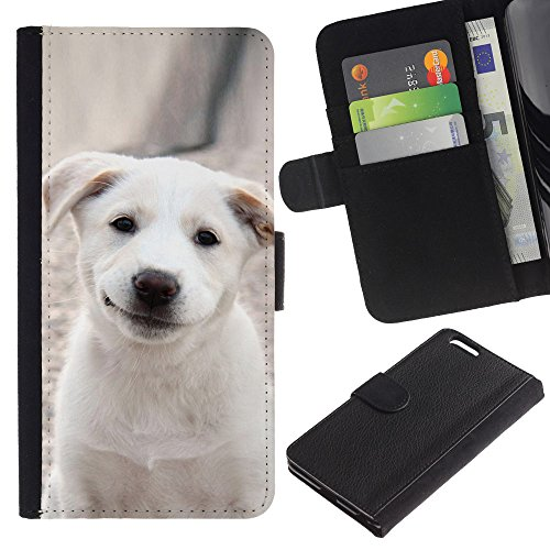 OMEGA Case / Apple Iphone 6 PLUS 5.5 / smiling Labrador puppy pet / Cuir PU Portefeuille Coverture Shell Armure Coque Coq Cas Etui Housse Case Cover Wallet Credit Card
