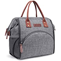 LOKASS Lunch Bag Insulated Cooler Bag Wide-Open Lunch Tote Box Leak Proof Drinks Holder Thermal Snacks Organizer for Women Men Boys Girls kids Adults School Work Picnic Hiking Beach Fishing,Grey