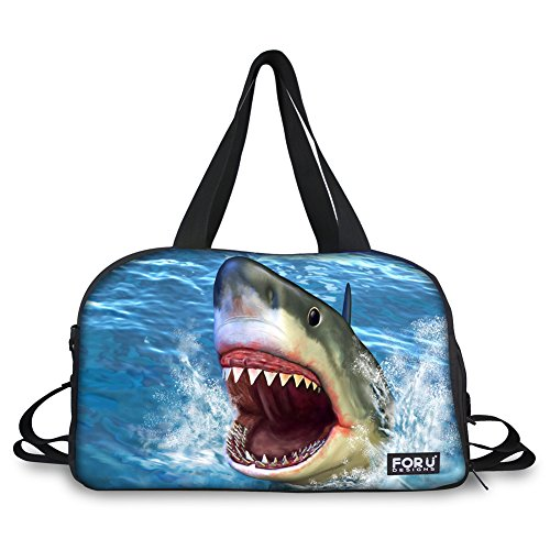Bigcardesigns Shark Print Travel Totes Carry on Luggage Overnight Weekender Duffel Bag by Bigcardesigns