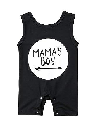 5adb8d2a1115 Newborn Baby Boys Sleeveless Mama s Boy Print Romper Black Jumpsuit ...