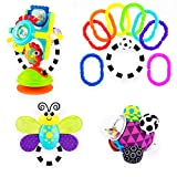 Sassy Discover The Sense Gift Set 0+ Month 4pc Set Includes Mini Bumpy Ball, Fishy Fascination Station, Flutterby Teether, 9pc Ring O'Links