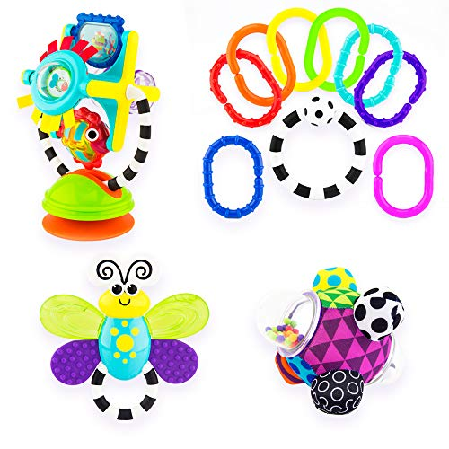 Teether Developmental Toy - Sassy Discover The Senses Developmental Gift Set for Newborns and Up | Includes Bumpy Ball, High Chair Toy, Water-Filled Teether, 9 Piece Ring O' Links | Great Baby Shower Gift