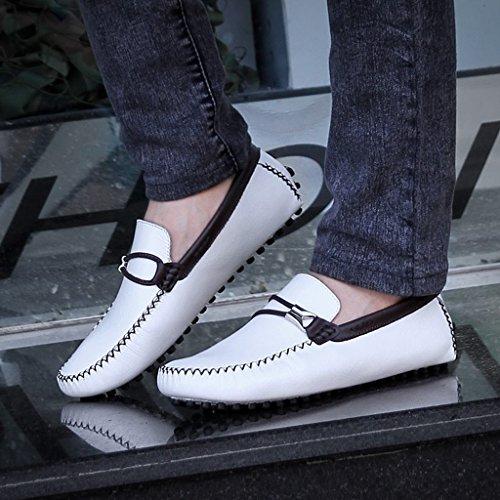 Tda Heren Ronde Neus Klassieke Lederen Loafers Rijden Werk Bootschoenen Wit