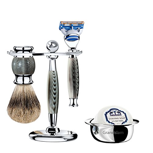 Grandslam Luxury Shaving Gift Set Safety Razor+20 Blades or Mach Fusion 5/Finest Badger Brush/Bowl/Shaving Soap and Stand Great Gift Idea for Father Husband or Boyfriend (Fusion 5, Gray)