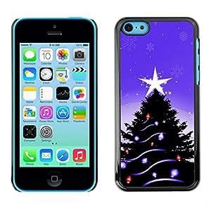 YOYO Slim PC / Aluminium Case Cover Armor Shell Portection //Christmas Holiday Purple Tree & Star 1081 //Apple Iphone 5C