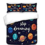 iPrint 3Pcs Duvet Cover Set,Quote,Outer Space Planets and Star Cluster Solar System Moon and Comets Sun Cosmos Illustration,Multi,Best Bedding Gifts for Family/Friends