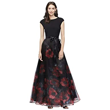 24c2faec885 Cap Sleeve Floral Organza Ball Mother of Bride Groom Gown with Bow Style  71411241 at Amazon Women s Clothing store