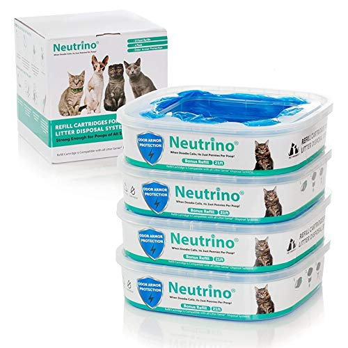 Neutrino 4 Pack Refills Fit Litter Genie Pail Waste Disposal Systems for Cats – 21 Foot Extra Long Capacity with Odor Smell Control Protection – Plus Bonus Pet Potty Training Ebook ()