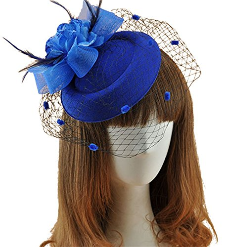 Womens Fashion Derby (Fascinator Hats Pillbox Hat British Bowler Hat Feather Flower Veil Wedding Hat (Blue))