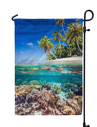 Soopat Coral Seasonal Flag, Beautiful Tropical Island French and Water Reef Weatherproof Double Stitched Outdoor Decorative Flags for Garden Yard 12''L x 18''W Welcome Garden ()