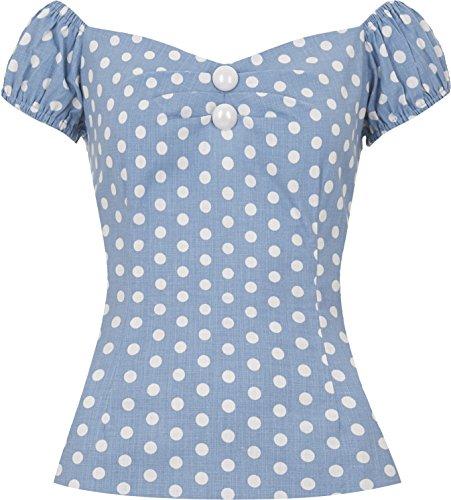 Dots Années À Rockabilly Collectif shirt Vintage T Pois Dot Weißen Dolores Mit Polka Hellblau blue Multicolore wCRqCHZ