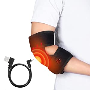 Elbow Heating Wrap, Heated Elbow Brace Heat Cold Therapy for Arm Elbow Joint with 3 Level Temperature and 4 Feet USB Charging Cable for Sprained Elbows, Tendonitis, Arthritis Pain Relief