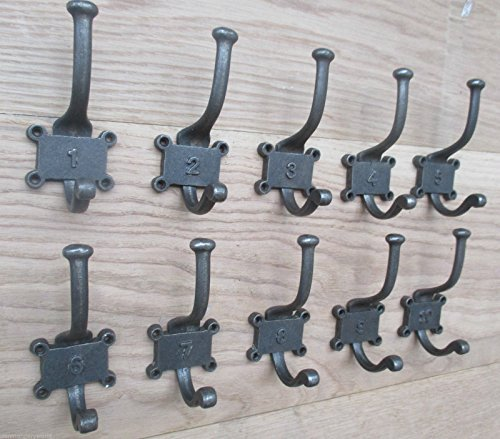 IRONMONGERY WORLDÂ 10 CAST IRON VINTAGE STYLE NUMBERED DOUBLE COAT HOOKS CLOAKROOM RACK BOARD PEG -AI INDUSTRIAL No's 1-10 by Ironmongery World