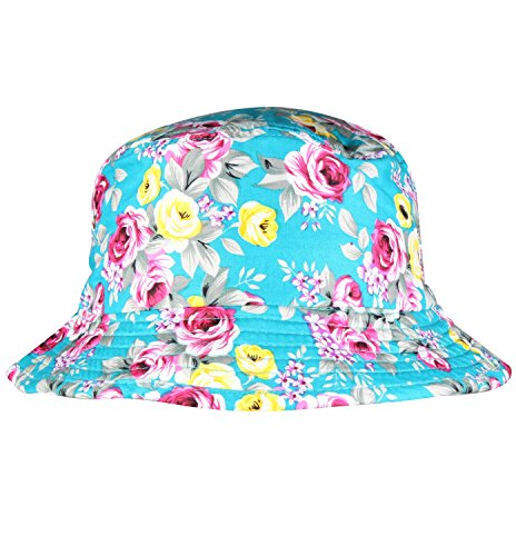 Blue Floral Bucket Hat Floppy Hat Summer Women's Sun Hat Packable Sun Bucket Hat (Bucket Hat Wholesale)