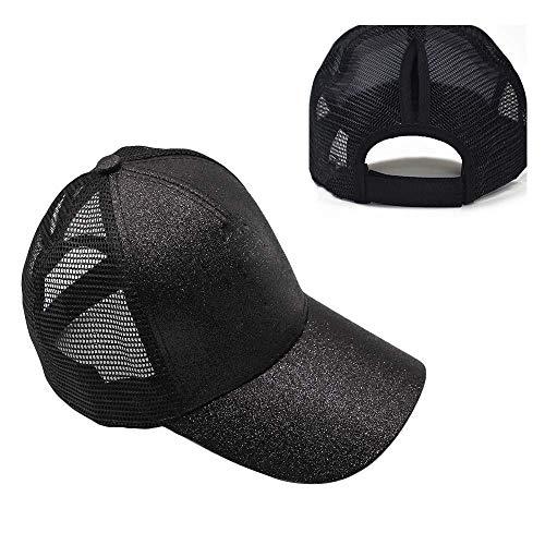 (HADM Adjustable Glitter Mesh Trucker Baseball Cap Ponycap Messy High Bun Ponytail Visor Cap Hats)