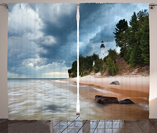 Ambesonne Lighthouse Decor Collection, Au Sable Lighthouse in Pictured Rock National Lakeshore Michigan USA Picture, Living Room Bedroom Curtain 2 Panels Set, 108 X 90 Inches, Cloudy Blue Ivoy