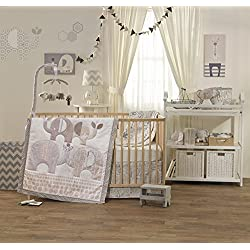 Lolli Living Naturi 4-Piece Crib Set - Boy or girl - unisex Neutral Bedding Coordinates For Baby Nursery, Made From Lightweight, Breathable 100% Premium Cotton, Fits Standard Crib