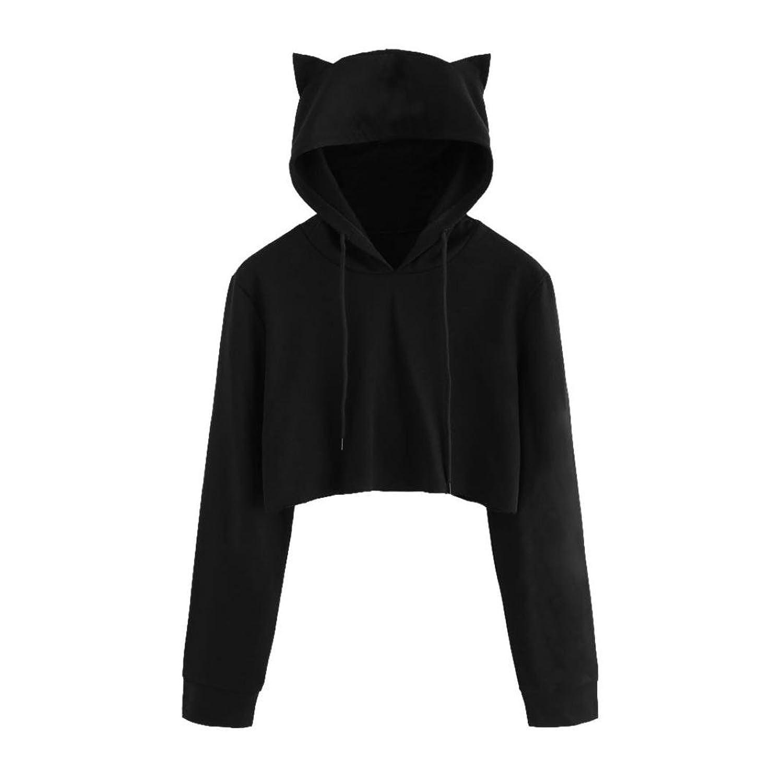 Tloowy Womens Teen Girls Cute Cat Ear Sweatshirt Crop Top Hoodies Long Sleeve Pullover