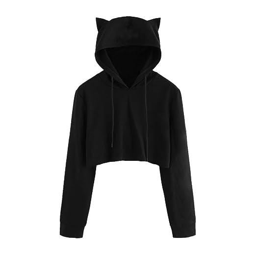 Tloowy Womens Teen Girls Cute Cat Ear Sweatshirt Crop Top Hoodies Long  Sleeve Pullover (Black 2366e3e3ee9