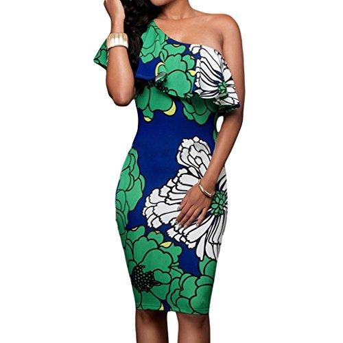 Cosyou Womens Imprimé Floral Robe Moulante Midi Une Large Robe Mince Crayon Poitrine Ruffle Épaule Vert