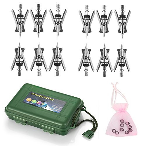 Jianuo 12pcs 100 Grain Archery Broadheads with Case and Repl