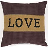 VHC Brands Merlot Red Primitive Classic Country Decor Heritage Farms Love 12x12 Pillow, 12'' x 12'', Black