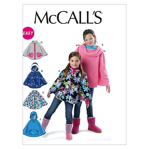 McCall Patterns M6431 Children's/Girls' Ponchos, Size CX (XSM-SML) ()