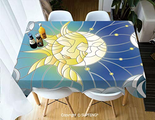 Square tablecloth Stained Glass Style Illustration of Interweaving Sun and Moon in Sky Romantic Decorative (55 X 72 inch) Great for Buffet Table, Parties, Holiday Dinner, Wedding & More.Desktop decor