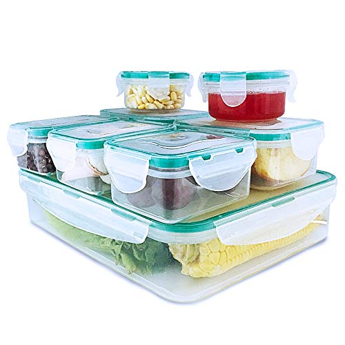 Happlee Food Storage Containers with Lids Airtight Leak Proof Stackable BPA-Free Clear Plastic Reusable Lunch Boxes Microwave Freezer Dishwasher Safe (16 Pieces) by Happlee