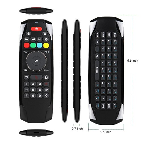 Air Mouse Remote, PTVDISPLAY 2.4G IR Learning Mouse Remote Control with Keyboard for Android TV Box Smart Projector MAC Pad HTPC iOS PC Windows Computer (Black) by PTVDISPLAY (Image #4)