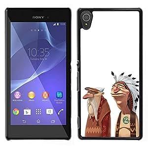 Be-Star Único Patrón Plástico Duro Fundas Cover Cubre Hard Case Cover Para Sony Xperia T3 ( Indian American Native Friendship Art Man )