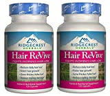 Ridgecrest Herbals Hair ReVive (Pack of 2) with Stinging Nettle Leaf, Bamboo Stem and Leaf, and Chinese Peony Root, 120 capsules per bottle