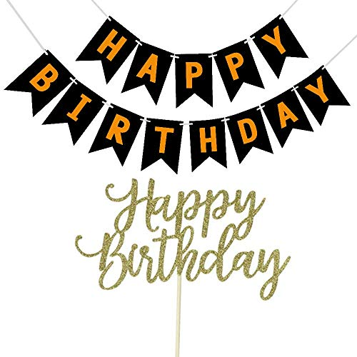 YOFEY1 Happy Birthday Cake Topper Glitter Gold with Happy Birthday Banner Color Black and Gold, 1st First Birthday Cake Topper Decorations