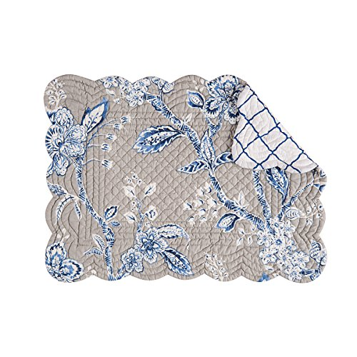 C&F Home Annabelle Blue Rectangular Cotton Quilted Placemat Set of 4 Rectangular Placemat -