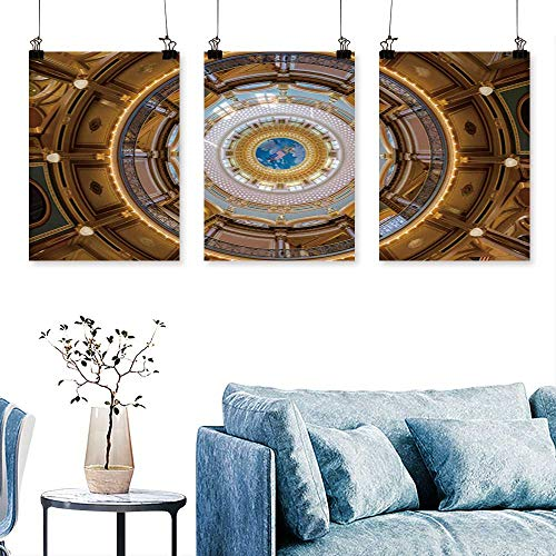 SCOCICI1588 Three Consecutive Painting Frameless des Moines Iowa July Inner Dome The Iowa State Capitol on July in des Moines Print On Canvas No Frame 16 INCH X 40 INCH X 3PCS