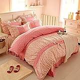 FADFAY Home Textile,Sweet Pink Polka Dot Print Fairy Bedding Set,Delicate Korean Ruffed Bed Sheet Set,Modern Girls Princess Bedding