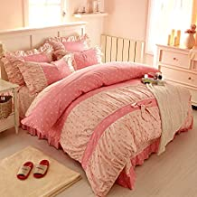 FADFAY Home Textile,Sweet Pink Polka Dot Print Fairy Bedding Set,Delicate Korean Ruffed Bed Sheet Set,Modern Girls Princess Bedding