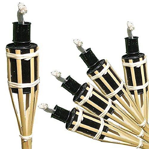 16 Stück Gartenfackeln a. Bambus Öllampen mit Sturmverschluss (16 Stück 42 cm , natur)