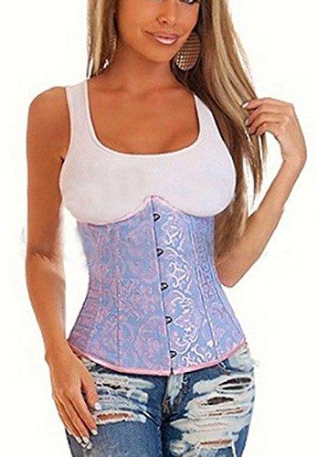 E-SHINE CO De las mujeres de talla Overbust Boned cintura apretando cors¨¦ S-6XL Azul