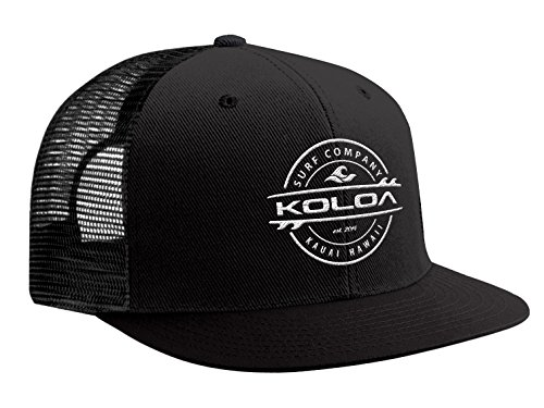 Logo Trucker Cap - Koloa Surf(tm) Thruster Logo Mesh Back Trucker Hat in Black with White Logo