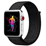 INTENY Sport Band Compatible for Apple Watch 42mm, Breathable Nylon Sport Loop, Strap Compatible for iWatch Series 3, Series 2, Series 1, Hermes, Nike+, Edition (N+Black, 42mm)