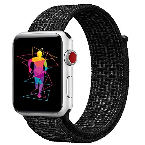 INTENY Sport Band Compatible for Apple Watch 42mm, Breathable Nylon Sport Loop, Strap Compatible for iWatch Series 3, Series 2, Series 1 (N+Black, 42mm)