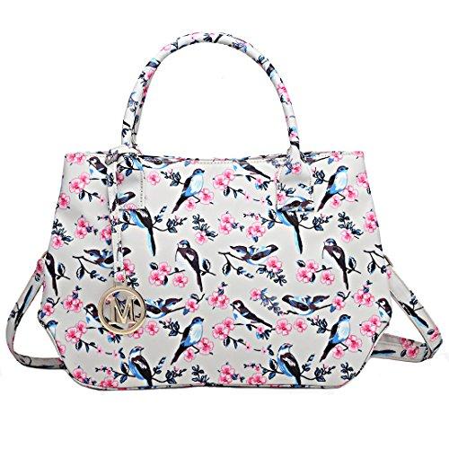 Miss Lulu Lady Tote Cross Body Bag Cute Fresh Bird Flower Design for Girls Women 1633-16J Beige