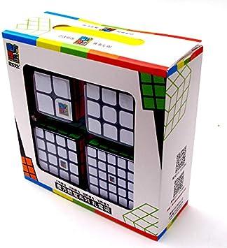 FunnyGoo MoYu MoFangJiaoShi MFJS Paquete de Cubos de Velocidad 2x2 3x3 4x4 5x5 Cubo mágico Cubing Aula Puzzles Suaves Juego de Cubos con Regalo Embalaje Color Negro: Amazon.es: Juguetes y juegos