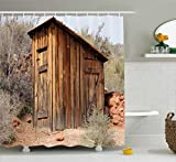 Outhouse Shower Curtain by Ambesonne, Old Wooden Shed in the Outback Country Side with Olive Trees, Fabric Bathroom Decor Set with Hooks, 70 Inches, Caramel Brown and Dark Green