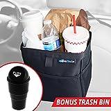 MyTidyCar Hanging Car Trash Can & Cooler - Premium, 3 Pockets, Leakproof, Hanging Car Garbage Bag for Vehicles (Bundle)