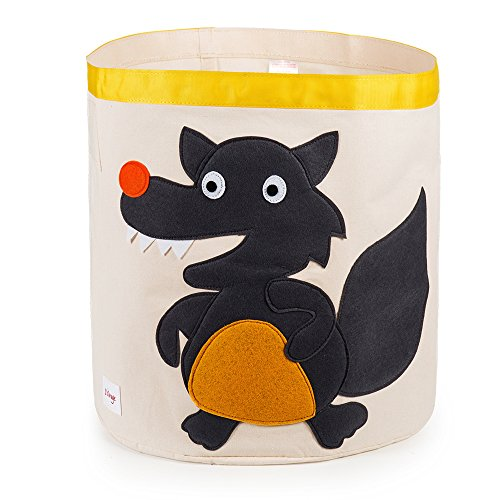 Large Baby Toys Storage Bin,Fold Waterproof Animal Design Laundry Hamper or Basket, for Kids Clothes17.5 x 18 (Grey Wolf) by ROSE CHEN